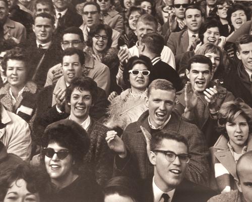 Football fans at Pratt Field at the 1962 Williams game