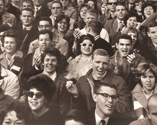 Football fans at Pratt Field at the 1962 Williams game