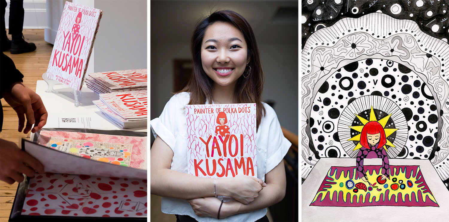 Hands flipping through book, portrait of Young-Ji Cho holding her book, colorful illustration of Yayoi Kusama painting