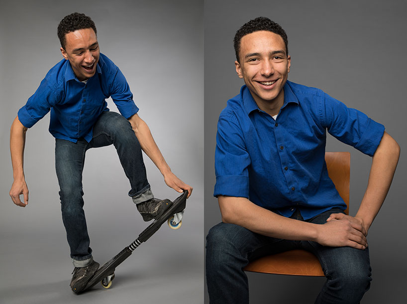 Portraits of Aahnix Bathurst-Williams '19, one on a skateboard, one sitting on a chair, smiling.