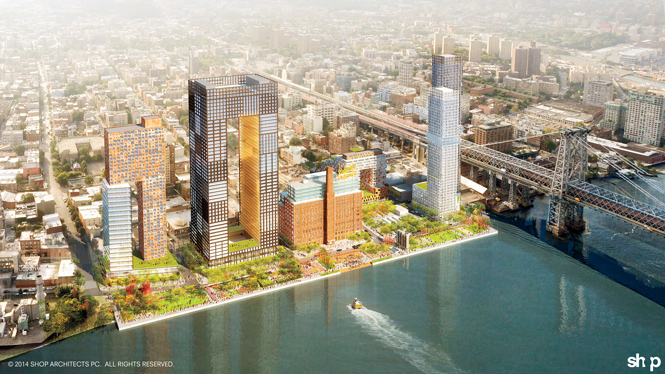 Architect's rendering of planned redevelopment of Brooklyn's Domino Sugar Plant.