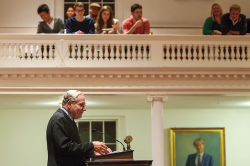 Bob Woodward at podium in Johnson Chapel