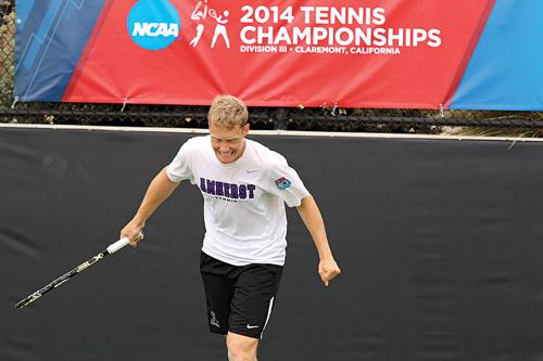 Joey Fritz '14 at 2014 tennis championships
