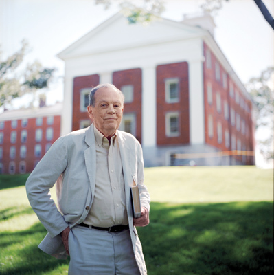 William H. Prichard '53 in front of Johnson Chapel