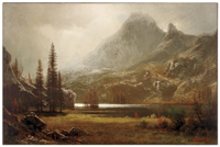 "Albert Bierstadt painting, ""By a Mountain Lake"""