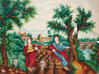 "Watercolor of ""Christ and the Samaritan Woman"""