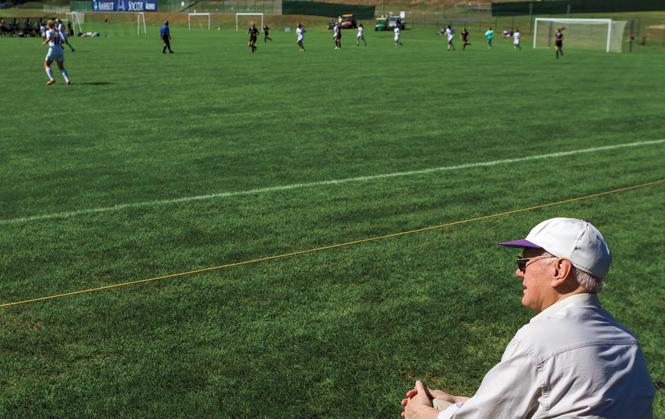 Frank Westhoff, Professor of Economics, watching women's soccer