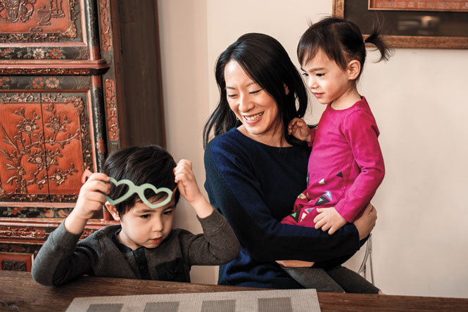 Deanna Fei '99 at home with son, Leo and daughter, Mila