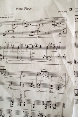 Sheet music for Ang's piano composition