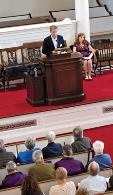 Bill Woolverton '73 speaking in Johnson Chapel
