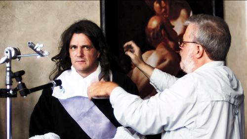 Tim Jenison adjust his model's wig