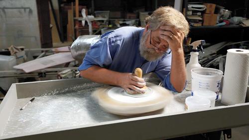 Tim Jenison polishing a 17th-century-style lens