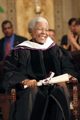 Nelson Mandela at his honorary degree ceremony