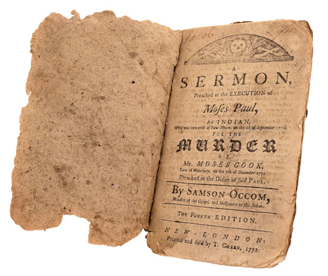 "Title page spread from ""A Sermon Preached at the Execution of Moses Paul, an Indian"""
