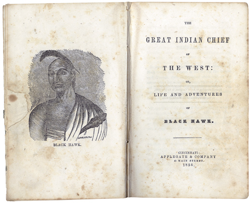 Title page spread from Black Hawk's 1833 autobiography