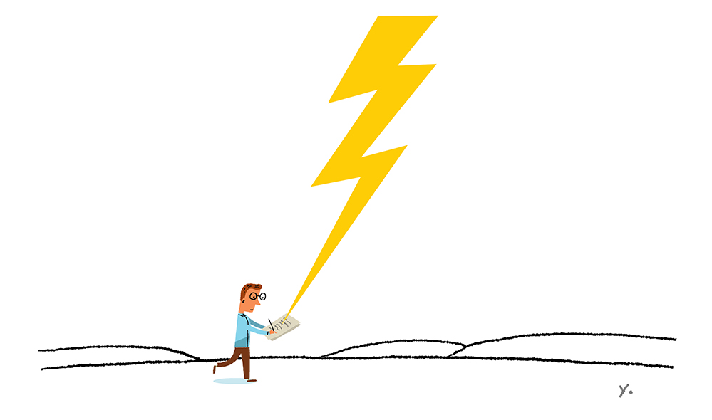 An illustration of a man holding a book with lightning coming from the sky