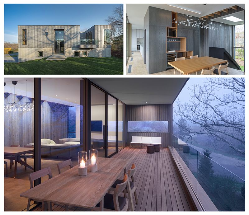 Three photos of a modern house, the interior of a modern house, and a wood terrace overlooking a forest