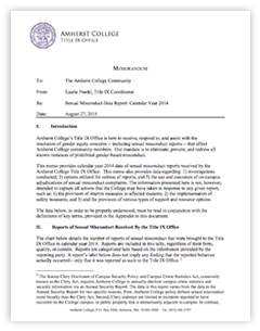Amherst College Sexual Misconduct Data Report: Calendar Year 2014 - click to open PDF
