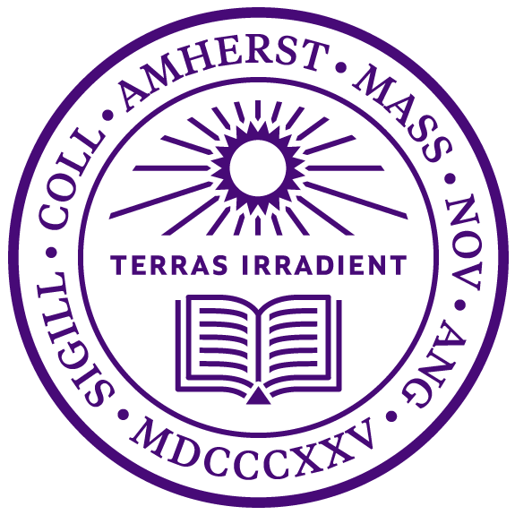 Amherst College seal in purple with words Terras Irradient