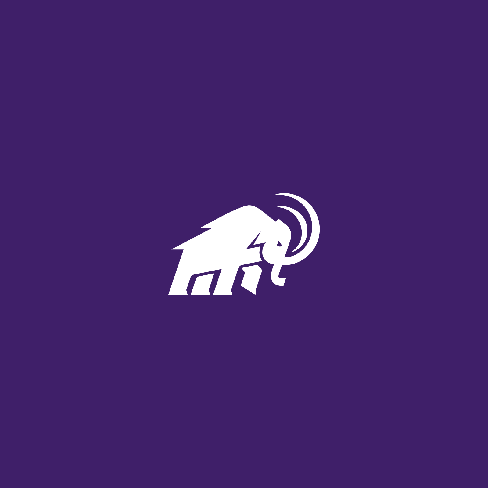 Amherst Mammoth in white on purple background