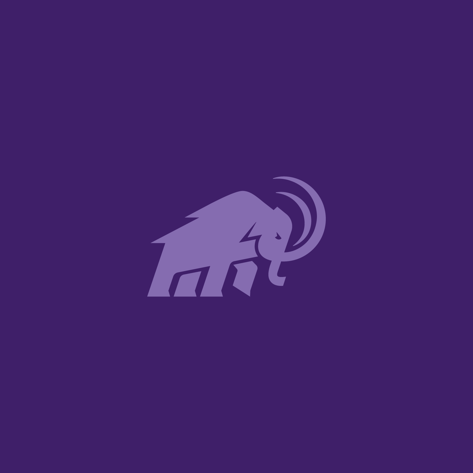 Amherst Mammoth in light purple on purple background