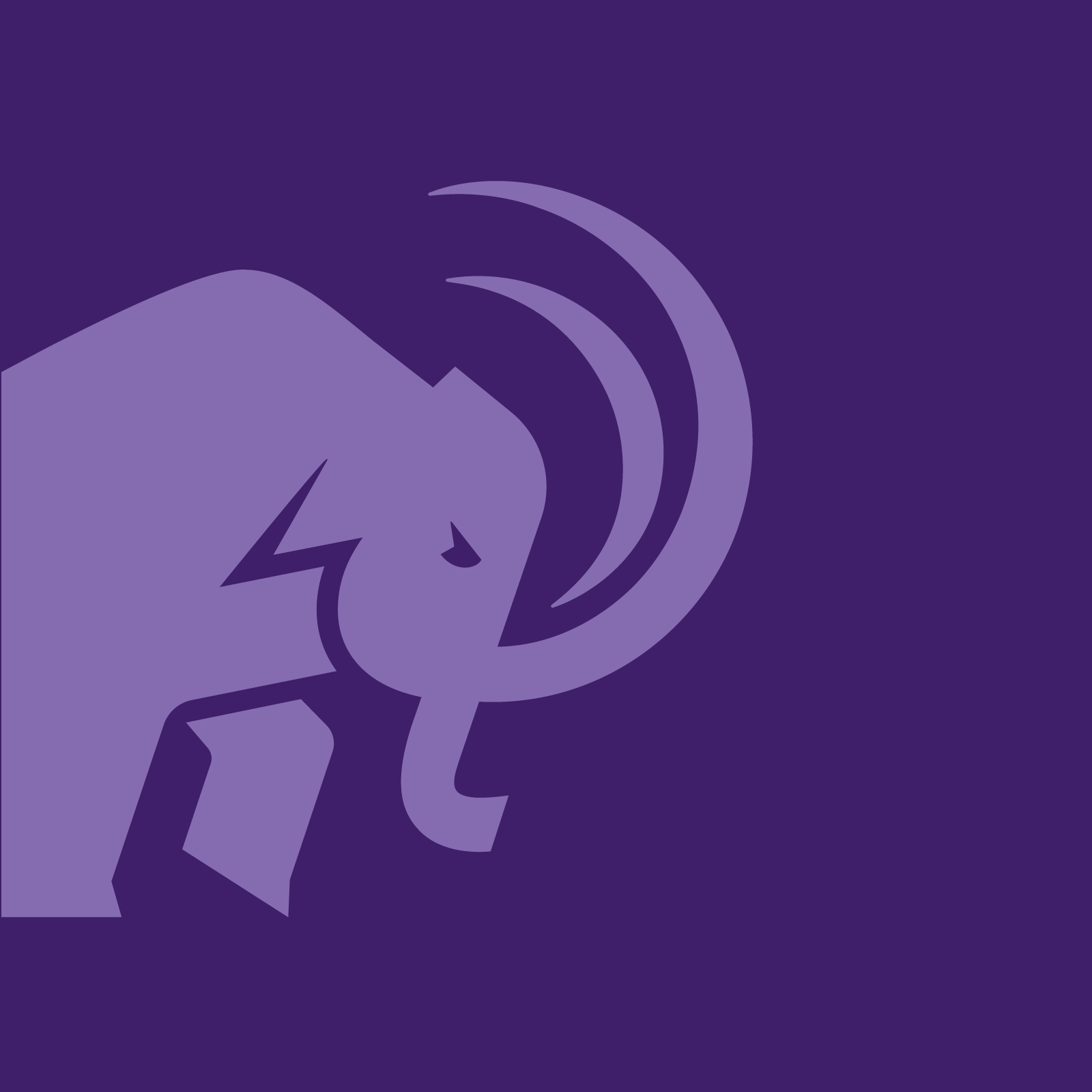 Light purple mammoth on a purple background