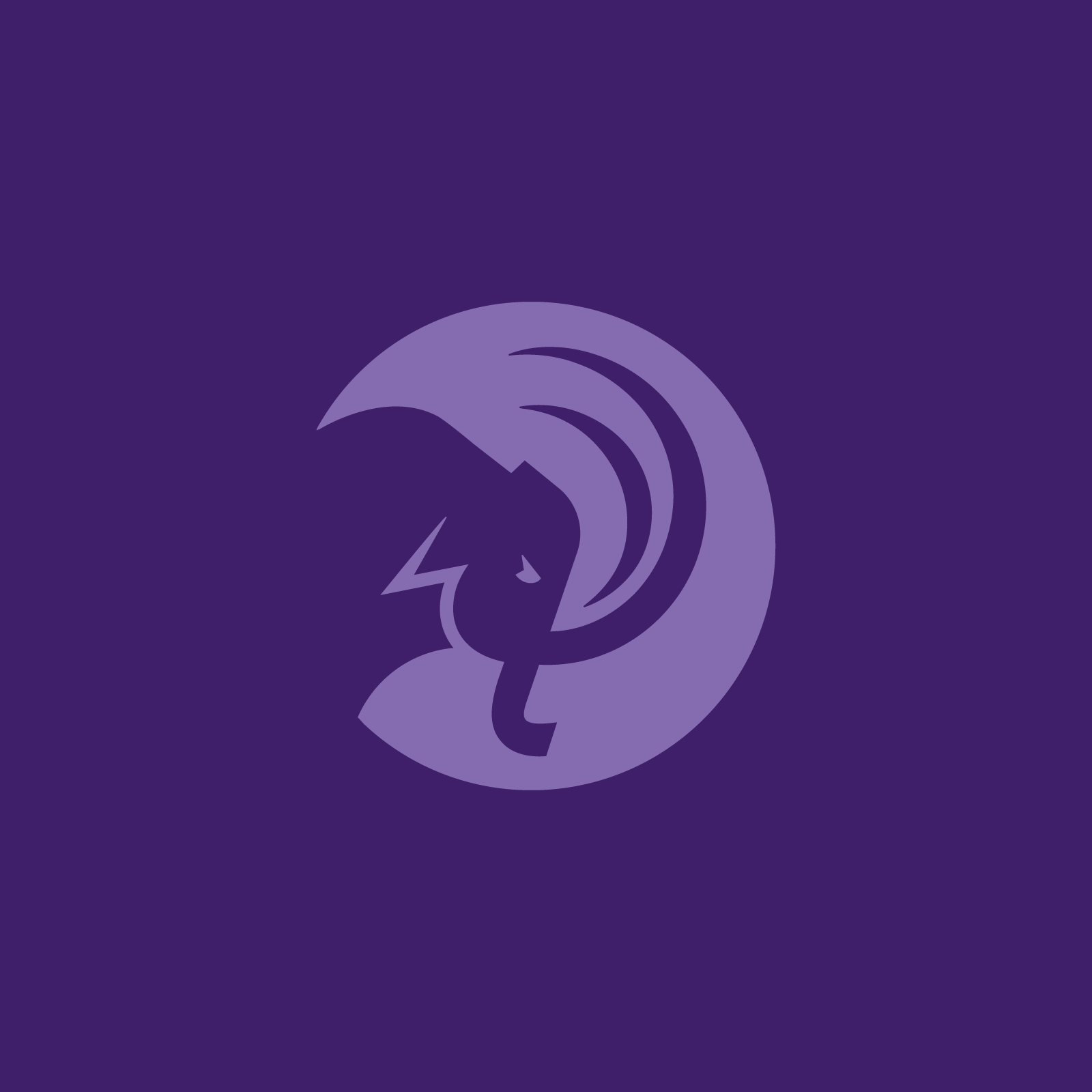 circular mammoth logo in light purple on purple background