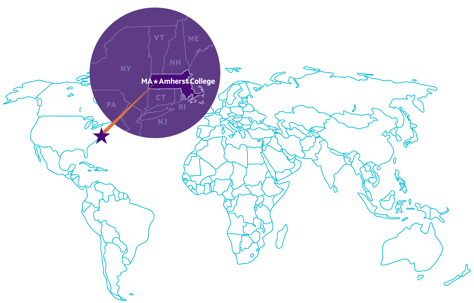 Massachusetts and Amherst College on world map