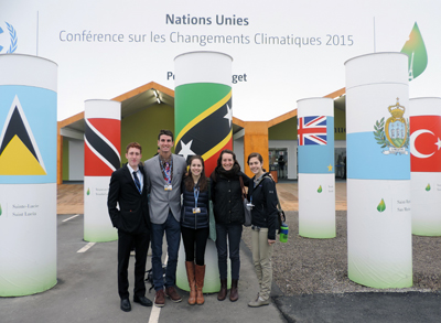 Amherst College and Pomona College students at COP 21 in Paris.