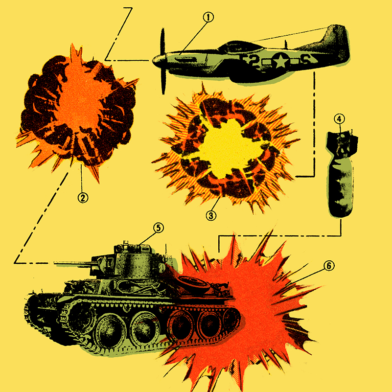 An illustration of a plane, tank, bomb and explosion