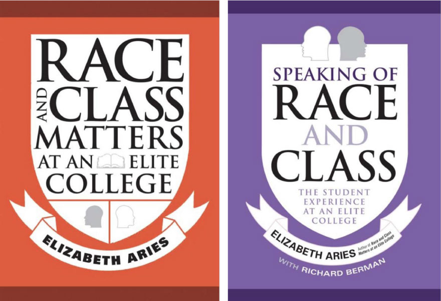 two book covers by Professor Aries, Race and Class Matters at an Elite College, and Speaking of Race and Class