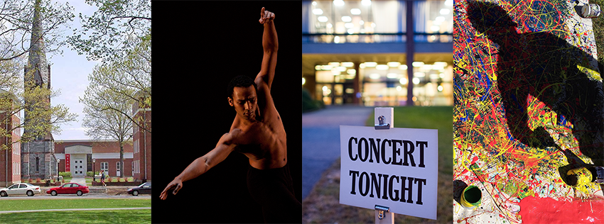 4 photos: Mead from distance, dancer with arms spread gracefully, Concert Tonight sign at music building, splatter painting