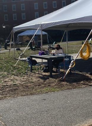 Outdoor study space under tent