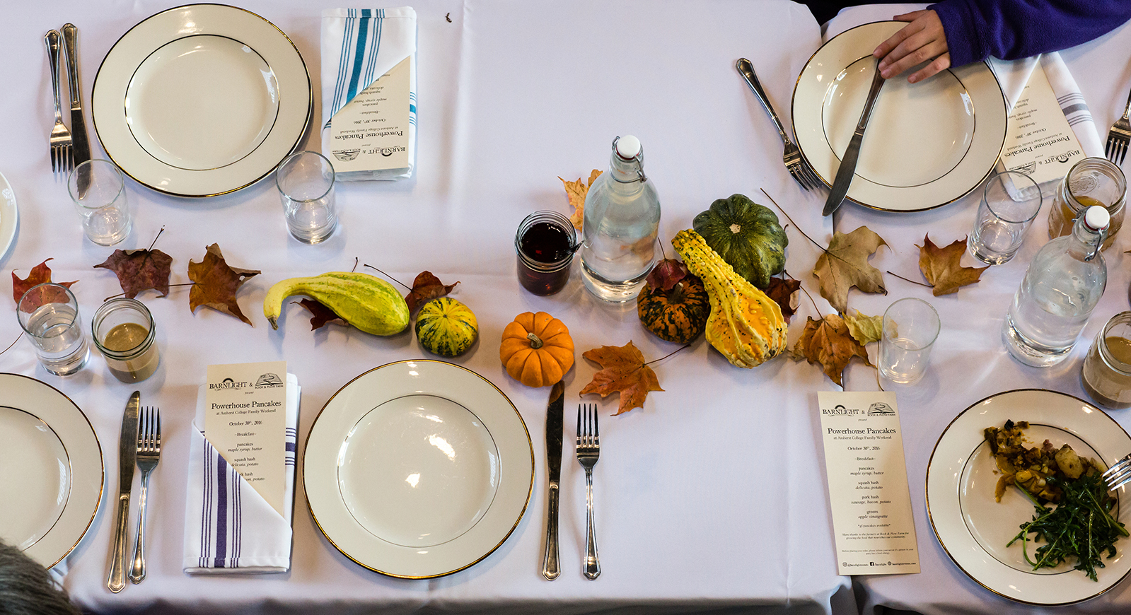 A table setting at a Book and Plow fall event