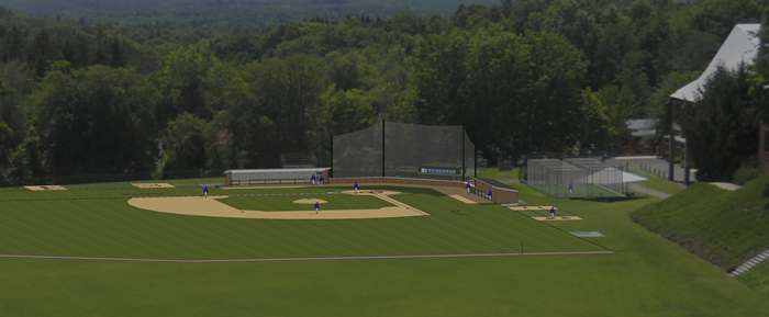 Baseball field renovations sketch superimposed on current field