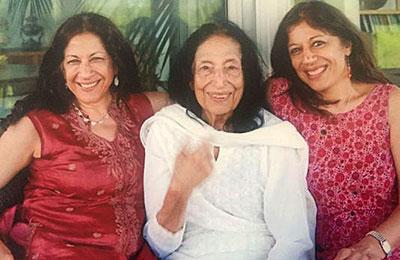 Amrita Basu (l) with her mother Rasil Basu (center) and sister Rekha Basu (r).