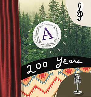 A collage with the Amherst College logo and 200 Years written across  a forrest