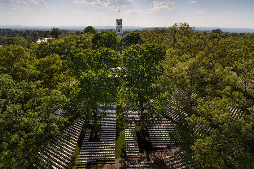Aerial view of Commencement set-up on the Quad