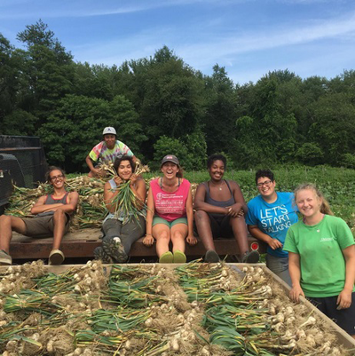Student workers on the Book and Plow Farm