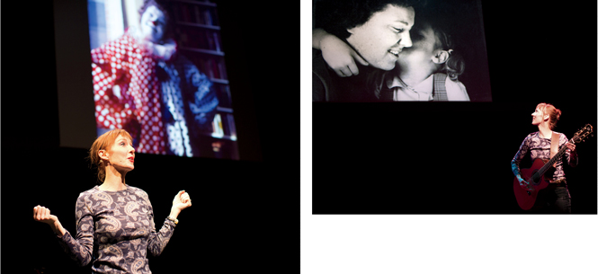 2 photos of Brook performing her one-woman musical play