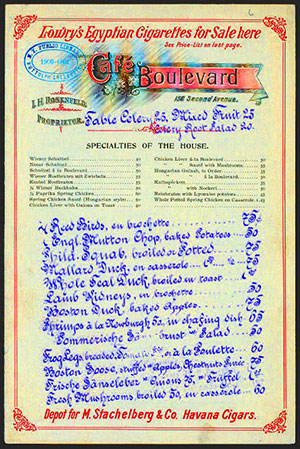 Colorful menu from Cafe Boulevard