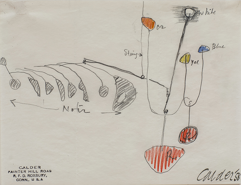 An abstract painting of a calder mobile