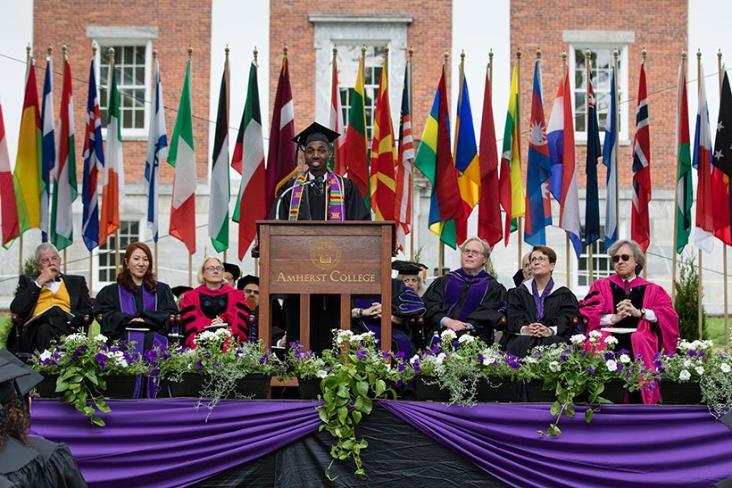 Amir Hall '17 speaking at Commencement