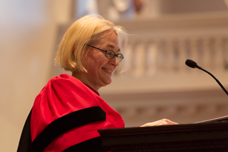 Catherine Epstein, Dean of the Faculty, addresses the Class of 2016 during Senior Assembly
