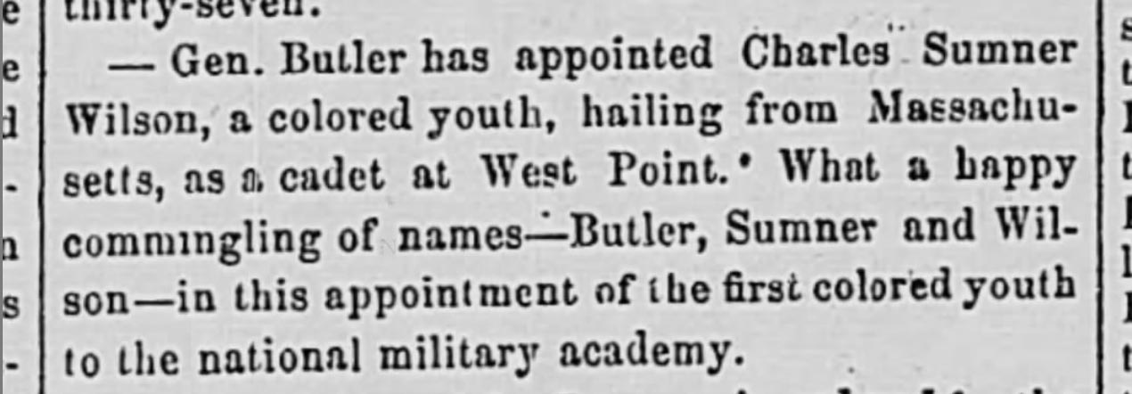 newspaper item about Charles Sumner Wilson, text in caption below image