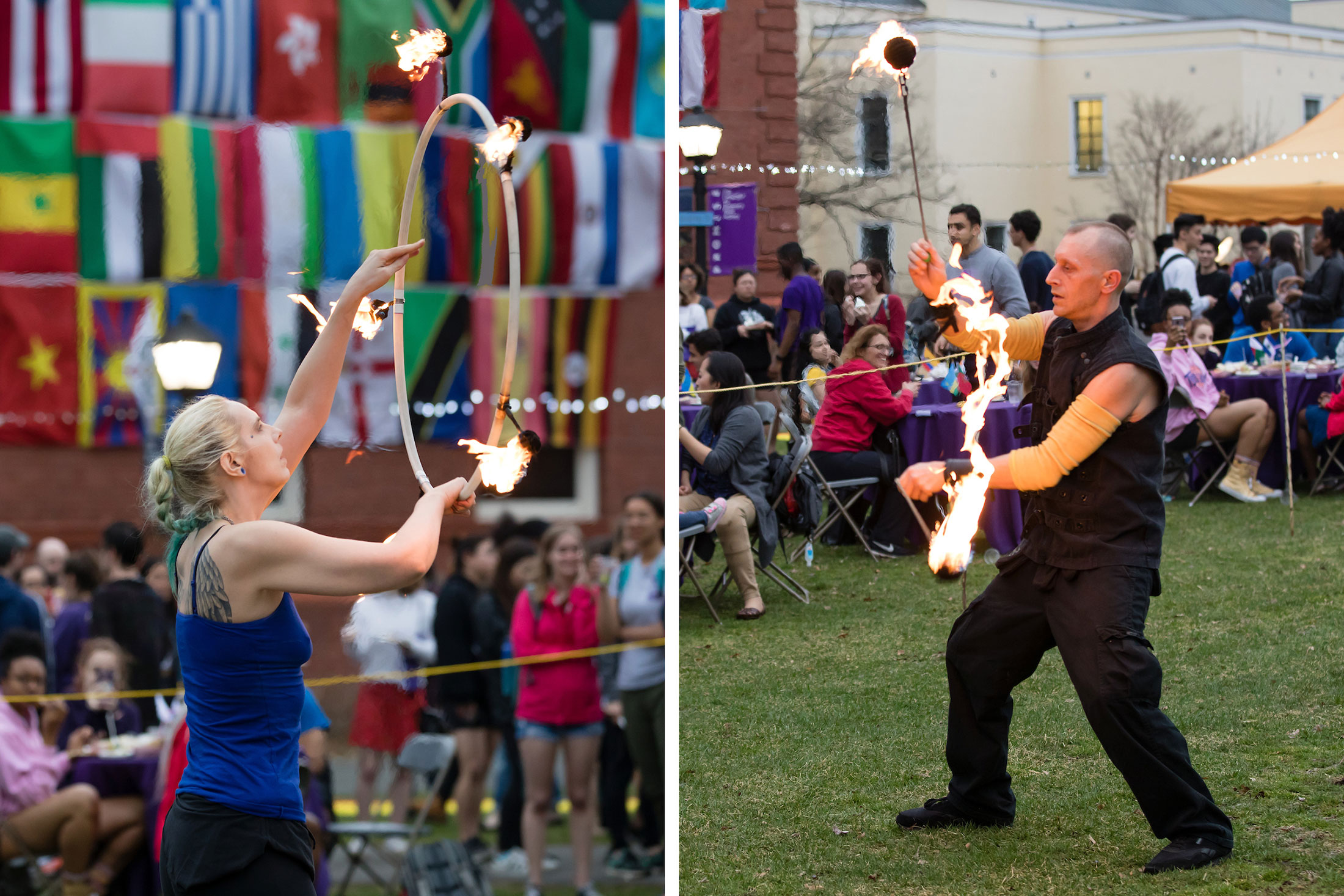 Fire spinners Megan Thompson (left) and Peter Meyer (right)