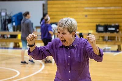 Sue Everden celebrating