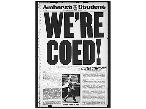 """A newspaper with a large headline reading """"We're Coed!"""""""