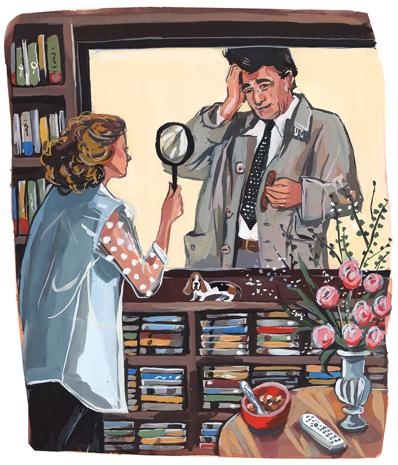 An illustration of Peter Falk playing the TV show character Columbo