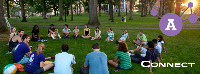 Connect. Amherst students having a discussion on the freshman quad